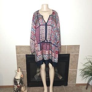 Johnny Was Silk Floral Tunic Dress with Tie Waist